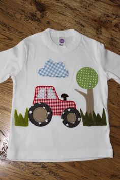 Cute tractor applique t-shirt Baby Applique, Applique Patterns, Applique Designs, Embroidery Applique, Quilt Patterns, Machine Embroidery, Embroidery Designs, Sewing Patterns, Quilt Baby