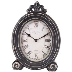 Paris 1885 Distressed Desk Clock ($27) ❤ liked on Polyvore featuring home, home decor, clocks, fillers, decor, backgrounds, distressed clock, battery operated clocks, home decorators collection and battery clock