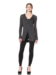79% OFF Vera Wang Women's Cardigan with Cable-Knit Sleeves (Charcoal)