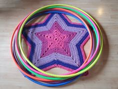 crocheted star carpet & rainbow set Hula Hoop's, adult size, thin tubbing, good grip gaffer tape