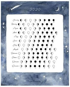 2020 Moon Calendar - Lunar Phases - Moon Cycle 2020 Wall Calendar - Astrology - Archival Print - Shounen And Trend Manga Bullet Journal 2020, Bullet Journal Ideas Pages, Bullet Journal Inspiration, Moon Calendar, Calendar 2020, Blank Calendar, Advent Calendar, Lunar Phase, Book Of Shadows
