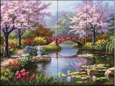 Japanese Garden by Sung Kim - Kitchen Backsplash / Bathroom wall Tile Mural by Tile Mural Store-Landscapes, http://www.amazon.com/dp/B00A5TFAI8/ref=cm_sw_r_pi_dp_9oNhrb076CBVE