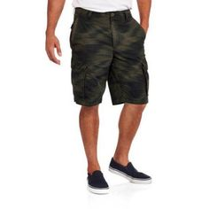 Faded Glory Big Men's Ripstop Cargo Short, Size: 46, Green