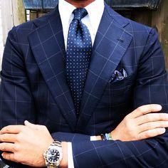 """violamilano: Ricardo wearing a """"Navy Floral II"""" silk tie & Blue III pocket square from Viola Milano… www.violamilano.com #vm #violam..."""