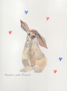Carte de voeux Bunny Rabbit aquarelle enfant imprimer pépinière Art on Etsy, 4,06 $ CAD