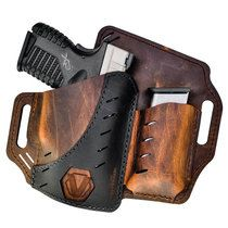 Shop Versacarry Underground Premium Guardian Black Vault Holster with Magazine Pouch GLOCK Springfield XDS and Similar Sub Compacts OWB Right Hand Water Buffalo Leather Distressed Brown and Black and more from Cheaper Than Dirt! Diy Leather Holster, Pistol Holster, Revolver, Concealed Carry Holsters, Leather Projects, Leather Tooling, World's Smallest, Firearms, Handgun