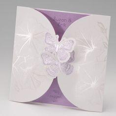 Trouwkaart Paarse vlinders