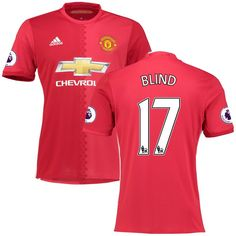 Daley Blind Manchester United adidas 2016/17 Home Replica Jersey - Red