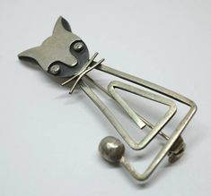 Vintage Taxco Mexico Sterling Silver Defino Modernist Cat Pin