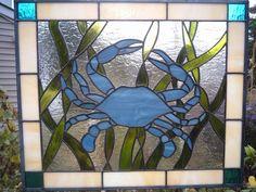 Blue Crab Stained Glass Panel by KippaxDecorativeArt on Etsy https://www.etsy.com/listing/253632208/blue-crab-stained-glass-panel