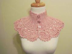 Victorian Collar Neckwarmer Pink Crochet by pegsyarncreations.