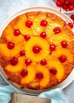 Overhead photo of Pineapple Upside Down Cake Fruit Recipes, Baking Recipes, Cake Recipes, Dessert Recipes, Just Desserts, Delicious Desserts, Moist Vanilla Cake, Cake Frosting Recipe, Recipetin Eats