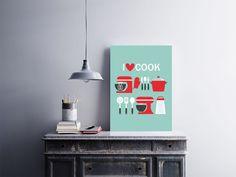 """Placa decorativa """"I Love Cook""""  Temos quadros com moldura e vidro protetor e placas decorativas em MDF.  Visite nossa loja e conheça nossos diversos modelos.  Loja virtual: www.arteemposter.com.br  Facebook: fb.com/arteemposter  Instagram: instagram.com/rogergon1975  #placa #adesivo #poster #quadro #vidro #parede #moldura"""