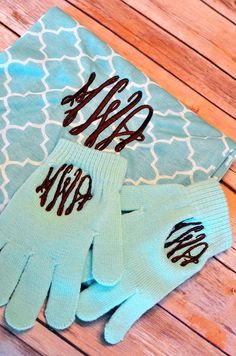 Mint Quatrefoil Infinity Scarf & Matching Monogrammed Gloves Christmas Stocking Stuffer. I just bought this and it is SO cute!