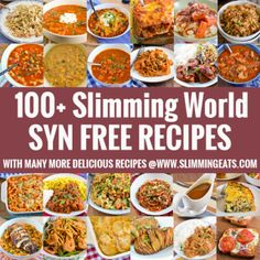 100 Slimming World Syn Free Recipes - save your syns for treat with these delicious syn free meals that do not compromise on taste. Slimming World Treats, Slimming World Dinners, Slimming World Recipes Syn Free, Slimming Eats, Slimming Word, Slimming World Syn Values, Syn Free Food, Free Recipes, Healthy Recipes