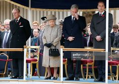 Prince Philip, Duke of Edinburgh (L), Queen Elizabeth II, Prince William, Duke of Cambridge (R) and Belgium's King Philippe attend the Opening of the Flanders' Fields Memorial Garden at Wellington Barracks on November 6, 2014 in London, England.