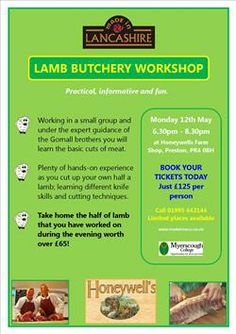 We're associate members of Made In Lancashire - interesting workshop coming up. Want to learn butchery skills and take home half a lamb too? Check this out!