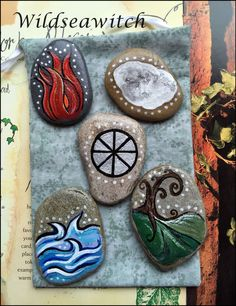 ELEMENT SET PALM STONES & POUCH ~ ALTAR CHARMS Wicca Pagan Witch FaeTalisman