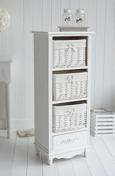 Picture Gallery For Website White tall free standing bathroom cabinet from The Rose Range at White Cottage Living Great bathroom storage with three baskets and drawer