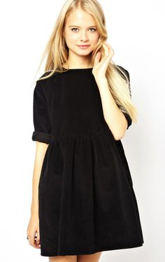 Black Three Quarter Length Sleeve Pleated Dress - Fashion Clothing, Latest Street Fashion At Abaday.com