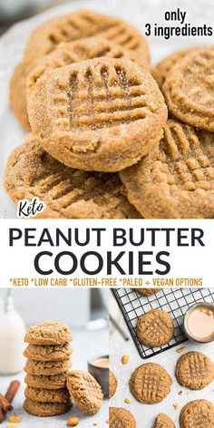 These Keto Peanut Butter Cookies are soft, thick, chewy and super easy to make with only 3 ingredients. Perfect for peanut butter lovers everywhere who will stop in their tracks to get their hands on one of these delicious cookies! Just 2g net carbs, gluten-free, grain-free, flourless, low carb with paleo and vegan options.