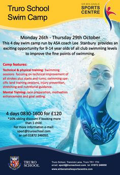 School #SwimTraining camp - greatest opportunity for 9-14 years age group. Monday 26th – Thursday 29th Octobee 2015.
