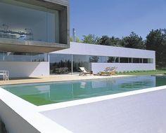 piscina y terraza de suelo de madera