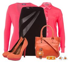 """""""Office outfit: Pink - Orange - Black"""" by downtownblues ❤ liked on Polyvore featuring WOLL, Bling Jewelry and Beracamy Paris"""