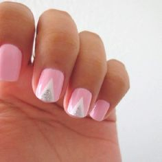 light pink with white and silver triangles