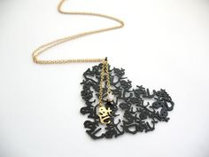 Valentine's Gift  Handmade Heart Necklace Japanese Love  by HilaBinyamin, $132.00