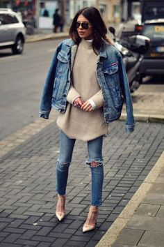 Denim jacket, distressed denim jeans, polar neck jersey over a white long sleeved button-up shirt, sunnies and nude pumps- double denim- fashion and street style Denim Fashion, Look Fashion, Womens Fashion, Net Fashion, Fashion Outfits, Fashion Heels, Fashion Photo, Woman Outfits, Trendy Fashion