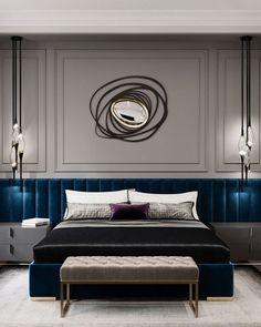 Home Decor Ideas Interior Design Blue bedroom decor with blue extended headboard blue velvet Hotel Room Design, Luxury Bedroom Design, Interior Design, Dispositions Chambre, Blue Bedroom Decor, Bedroom Neutral, Bedroom Black, Bedroom Colors, Mid Century Bedroom