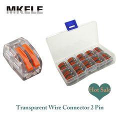 Vente chaude Wa go 20 pcs Transparent Universel Rapide Câblage 2 Broches Mini Fil Connecteur Bornier Rvb Conector Accessoires chine