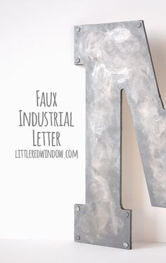 Faux Metal Industrial Monogram - Turn unpainted wood into faux industrial metal with this tutorial! Metal Industrial, Industrial Wedding, Industrial Signs, Industrial Furniture, Industrial Style, Fun Crafts, Diy And Crafts, Metal Crafts, Wood Letters