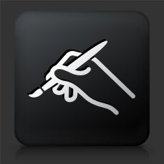 Black Square Button with Brush Icon vector art illustration