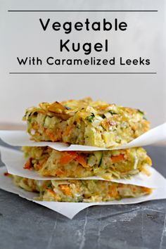 Vegetable Kugel with Caramelized Leeks - What Jew Wanna Eat-  russet potato, sweet potato, zucchini, onion, garlic cloves