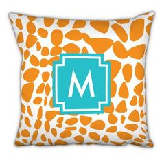 Whitney English Lizard Single Initial Cotton Throw Pillow Letter: Z
