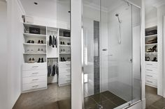 Innovative walk in robe, with view from the shower! Wardrobe Storage, Built In Wardrobe, Glass Sliding Wardrobe Doors, Laundry In Bathroom, Washroom, Built In Robes, Walk In Robe, My Ideal Home, Custom Kitchens