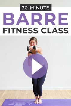At Home Barre Workout Tone the entire body with this free POWER BARRE FITNESS VIDEO! Lindsey will coach you through 30 minutes of full body exercises – all you need is a set of dumbbells! Hiit, Pilates Workout, Barre Workout Video, Barre Exercises At Home, Cardio Barre, 30 Minute Workout, At Home Workouts, Body Exercises, Pop Pilates