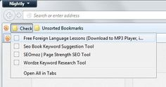 Firefox bookmarks toolbar