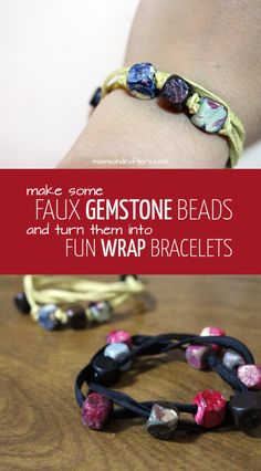 """First, make beautiful, marbleized """"faux gemstone"""" beads, then turn the into these fun DIY wrap bracelets - a perfect handmade mother's day gift! It's beginner jewelry making craft tutorial, so anyone can try it."""