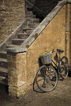 bicycle with wicker basket, warwickshire, england
