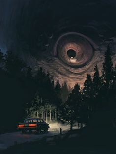 """ Kurt Huggins For the ""Things that Go Bump"" challenge from Month of Fear 2014. ""The Watcher, this comes from a feeling I tend to get while driving down moonlit rural roads."" """