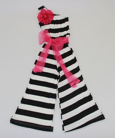 Look at this Black & White Stripe Rosette Jumpsuit - Toddler & Girls by Mia Belle Baby Fashion Kids, Little Girl Fashion, Toddler Fashion, Toddler Girl Dresses, Toddler Girls, Girls Dresses, Baby Girls, Mode Junior, Toddler Jumpsuit