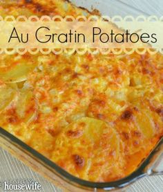 Au Gratin Potatoes recipe Carolynn here: I made these today and used 6 medium potatoes, 1 1/2 c. sour cream, 1 1/2 c. milk, 2 c. cheese, same garlic and spices. It turned out delicious! Cooked closer to 90 min.