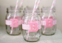 ordered pink polka dot straws from Etsy. Mason jars and brown ribbon for drink.