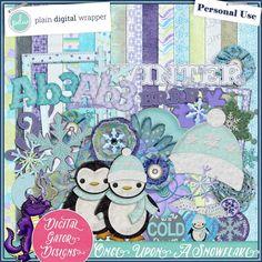Once Upon A Snowflake Kit by Digital Gator Designs #PDW #plaindigitalwrapper #scrapbookkit #digital #digitalscrapbook #hybrid #pagekit #digitalgatordesigns