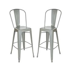 Amazon.com - Glitzhome Vintage Metal Counter Bar Stools Navy Blue, Set Of Two - Chairs