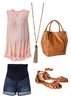Flatter your baby bump with flowy, pastel tops paired with casual denim shorts.