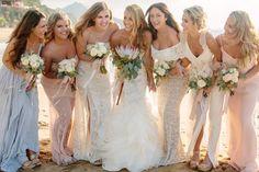 muted bride & bridesmaids bouquets. Tietiare Estate Wedding // Sayulita, MexicoTaryn Baxter Photographer
